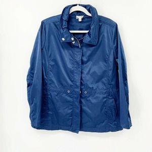 St. John Sport Satin Jacket Navy Blue Zip Up M